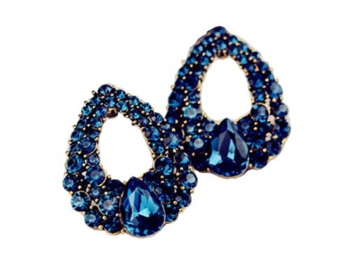 50bb4840f BEAUTIFUL STYLISH TEMPERAMENT BLUE CRYSTAL WATERDROP STUD EARRINGS FOR WOMEN  ...